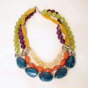 Vintage Jewelry - Triple Strand Glitzy Bead Stone Necklace